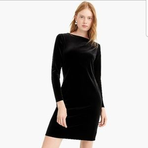 J. Crew long sleeve black velvet sheath dress